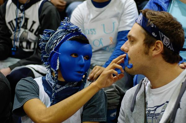 Johnathan Mondragon and Tyler Myers get ready to show their spirit at the pep rally. The senior class won the week's festivities to promote school spirit for the Homecoming game.