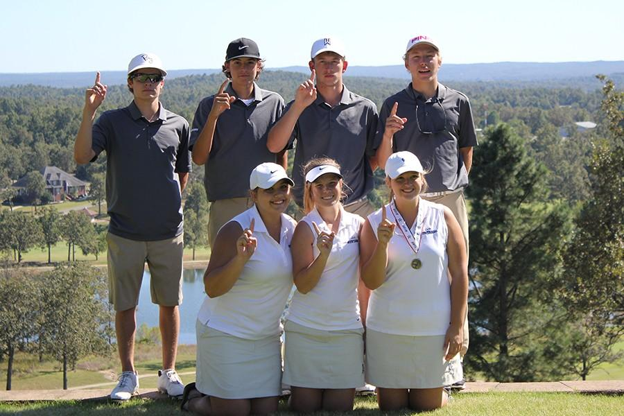 Golf team members  from left, front: Joanna Carmichael, Kensie Walker and Ashley Field. Back: Dax Hurst, Miles Gifford, Trey DePriest and Andrew McFarlin. Both teams captured district titles.