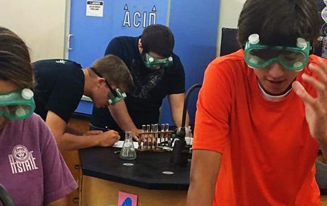 Miles Gifford and other students use cabbage juice to determine if household chemicals are acids or bases.