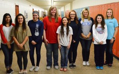 Homecoming royalty, from left: sophomore representatives Lizette Vasquez, Molly Hart and Cadyn Qualls;  junior representatives Avery Uthoff, Stephanie Atchley and Lexie Ray; senior princesses Ashley Field, Samantha Gipson and Natalie Campbell.