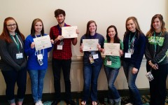 Lexie Ray, MJ Ivy, Camden Metheny, Shyla Clayton, Stephanie Atchley, Cadyn Qualls and Kensie Walker following the JEA Write-Offs award ceremony Sunday morning at the Disney Dolphin. The staff earned four individual Write-Off awards, and