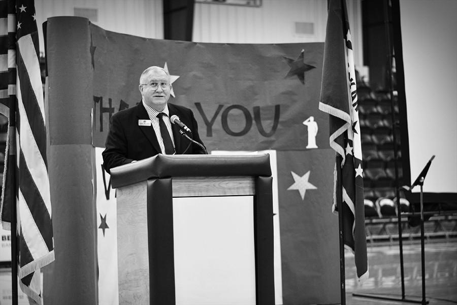Arkansas+Rep.+Dave+Wallace+was+the+guest+speaker+at+the+Veterans+Day+assembly+Monday+at+the+MAC.+