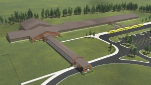 Architect's rendering of the proposed K-6 building that will be located in Leachville