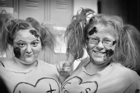 Sophomores Kaylly Deeds and Hannah Turner as best friend zombies on Nightmare Before Homecoming Day.