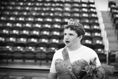 Senior Drake Cobb reacts to being robbed of his crown during the pageant skit at the talent show.