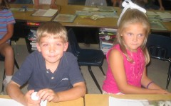 Seniors Connor Miller and Blaire Wildy work at their desks in this photo from 2005.