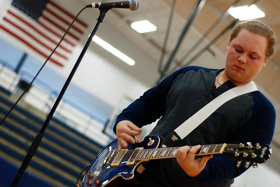 Junior Zach Guiltner demonstrated his passion for music in the talent show.