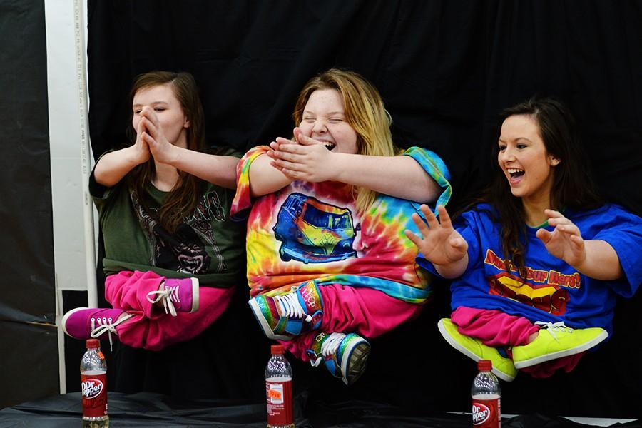 Juniors Shyla Clayton, Maddigan Carroll and Stephanie Atchley performed a little people lip sync and won first place.