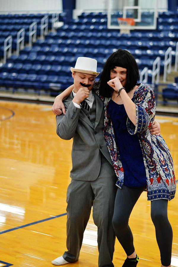 Sophomores Tyler Hawkins and Jayden Fowler lip sync to