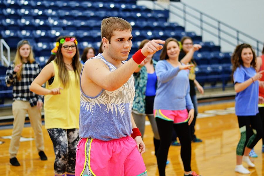 Gavin Anderson led his fellow seniors in an exercise routine styled after fitness guru Richard Simmons