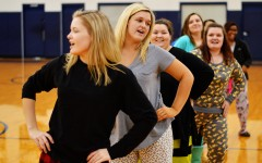 Blaire Wildy, Ashley Field, Hannah Harrell, Sarah Vaughn. Morgan Tibbs and Tabitha Cobb lead the crowd in the Macarena during the homecoming pep rally.