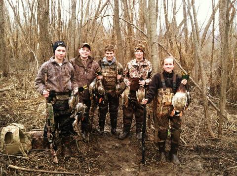 From left, Logan Harrison, Whit Cagle, Chanse Rose, Brady Clark and Hannah Carle on a recent hunt.