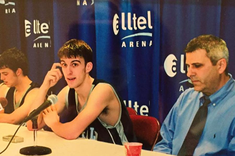 Coach Bill Taylor and son Brooks after the 2006 state championship at Alltel Arena in Little Rock