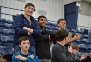 Seniors Dylan Hurst, Tyler Parker, Jerry Cazares and Hunter Drury participate in the Homecoming pep rally.