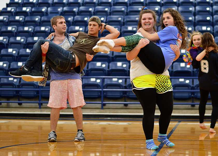 Seniors (from left) Gavin Anderson, Hunter Drury, Sarah Vaughn and Samantha Gipson during Homecoming Week festivities