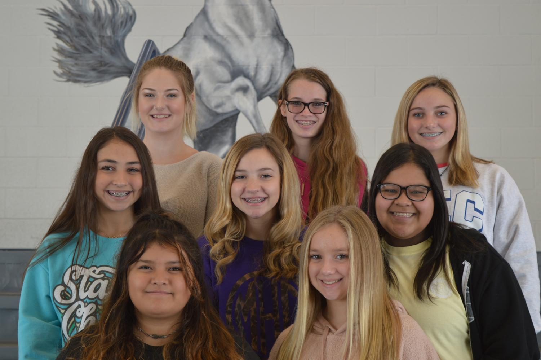 From top Left:  Kylie Ledet, RJ Moad, Sydney Bryeans, Presley Gathright, Macie Hatch, Regina Castanon, Ester Perez, Claire Jackson. Not Pictured: Christa Worthey